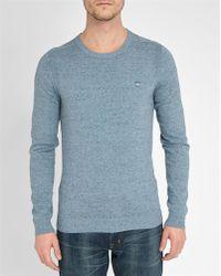 DIESEL | Mottled-blue Chest Logo Round-neck Sweater | Lyst
