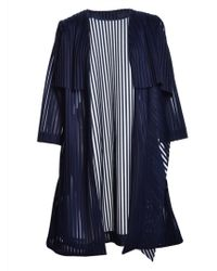 Paper London - Navy Emperador Mesh Stripe Coat - Lyst