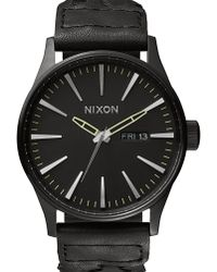 Nixon Woven Black Leather Sentry Watch black - Lyst