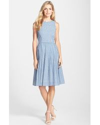 Kaya & Sloane - Gingham Cotton Fit & Flare Midi Dress - Lyst