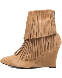 Elyse Walker Los Angeles Elyse Fringe Suede Wedge Booties - Lyst