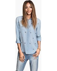 H&M Denim Shirt with Sparkly Gems - Lyst