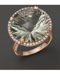 Lisa Nik - 18k Rose Gold Prasiolite Diamond Ring - Lyst