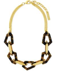 Vince Camuto - Goldtone Tortoise Statement Link Frontal Necklace - Lyst