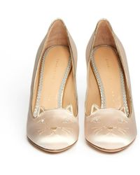 Charlotte Olympia Kitty 110 Satin Pumps - Lyst