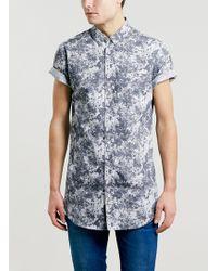 Topman Tonal Grey Rust Print Short Sleeve Shirt - Lyst