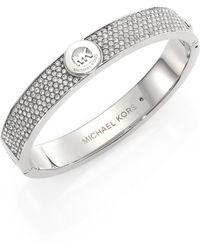 Michael Kors - Heritage Fulton Pavé Logo Bangle Bracelet/silvertone - Lyst