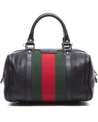 Gucci Pre-Owned Black Leather Vintage Web Boston Bag - Lyst