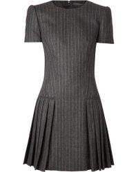 Alexander McQueen Gray Pinstripe Dress - Lyst