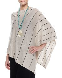 Eileen Fisher Organic Linen Pinstripe Poncho - Lyst