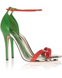 Alexander McQueen Leather and Snake Sandals - Lyst