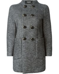 DSquared2 Classic Tweed Coat - Lyst
