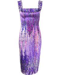 L'Wren Scott | Square Neck Floral Cocktail Dress | Lyst