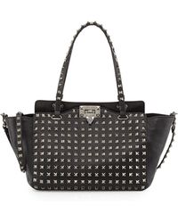 Valentino Noir Rockstud Mini Leather Studded Tote Bag - Lyst