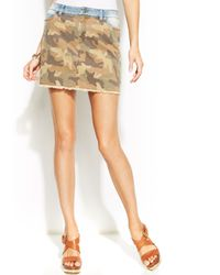 Michael Kors Michael Camoprint Denim Mini Skirt - Lyst