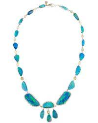 Nina Runsdorf 18K White Gold Opal Necklace multicolor - Lyst