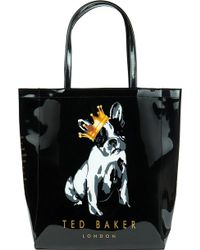 Ted Baker Kincon Large Cotton Dog Shopper Bag Black - Lyst