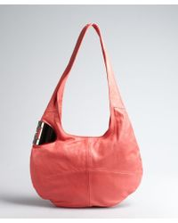 Halston Heritage Guava Leather and Metal Plaque Sack Hobo - Lyst