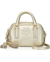 Tory Burch Thea Metallic Pebbled Leather Mini Satchel Bag Light Gold - Lyst