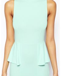Asos Midi Dress with High Neck and Peplum - Lyst