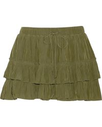 Elizabeth And James Wendy Ruffled Matte-satin Mini Skirt - Lyst