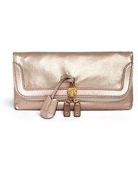 Alexander McQueen 'Padlock' Metallic Leather Clutch - Lyst