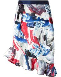 Prabal Gurung Ruffled Hem Printed Skirt - Lyst