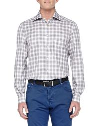 Kiton Long-Sleeve Plaid Shirt - Lyst