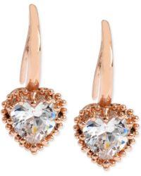 Betsey Johnson Rose Gold-Tone Crystal Heart Drop Earrings pink - Lyst
