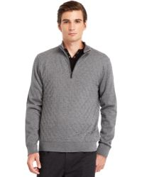 Kenneth Cole Quilted Quarter-Zip Sweater - Lyst
