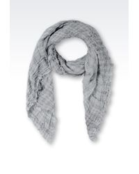 Armani - Linen Scarf with Check Pattern - Lyst