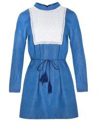 Pixie Market Francesca Denim Smock Dress With Daisy Bib Detail blue - Lyst