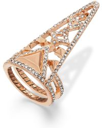 House Of Harlow Rose Gold-tone Crystal Triangle Finger Ring - Lyst