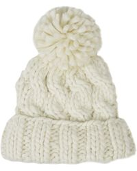 Topshop Hand-knit Cable Beanie - Lyst