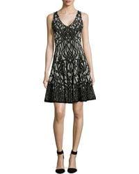 Zac Posen Sleeveless Jacquard Fit & Flare Dress black - Lyst