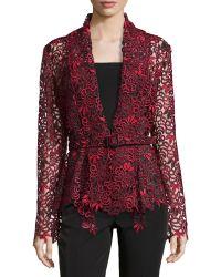 Oscar de la Renta Draped Guipure Lace Belted Jacket - Lyst