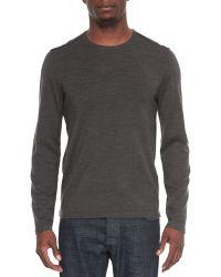 John Varvatos | Leather-trimmed Crewneck Sweater | Lyst