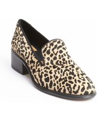 Dolce Vita Black and Brown Leopard Print Calf Hair Heel Loafers - Lyst