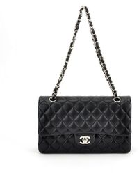 Chanel Authentic Pre-owned Black Quilted Lambskin Medium Flap Bag - Lyst