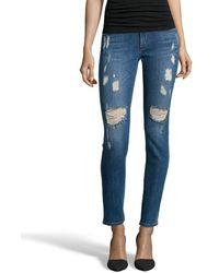James Jeans   Indigo Stretch Denim 'james Twiggy' Distressed Skinny Jeans   Lyst
