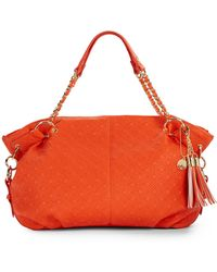 Big Buddha Clove Quilted Faux Leather Tote orange - Lyst