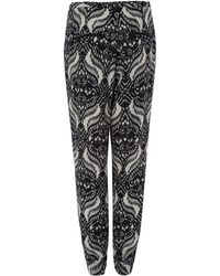 Day Birger Et Mikkelsen Black Gateway Ethnic Print Silkblend Trousers - Lyst