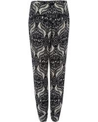 Day Birger Et Mikkelsen Black Gateway Ethnic Print Silkblend Trousers - Lyst