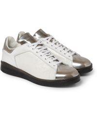 Alexander McQueen Panelled Metallic Leather Sneakers - Lyst