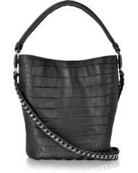 Roberto Cavalli Regina Medium Black Croco Embossed Leather Shoulder Bag - Lyst