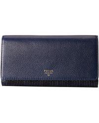 Fossil Sydney Flap Wallet blue - Lyst