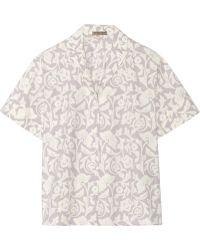 Bottega Veneta Printed Washed Cotton-poplin Shirt - Lyst