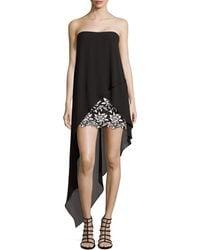 BCBGMAXAZRIA Krystin Strapless Chiffon High-Low Dress - Lyst