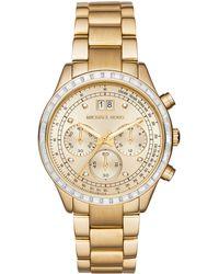 Michael Kors Brinkley Glitz Goldtone Stainless Steel Chronograph Bracelet Watch gold - Lyst