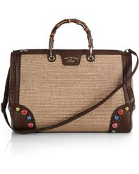 Gucci Bamboo Shopper Large Straw Tote With Embroidered Stone Detail - Lyst